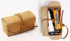 Kenton Sorenson Leather Dopp Kit. This is my inspiration. I want to make this for Monica.