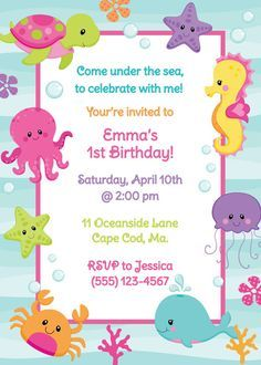 Under The Sea Birthday Invitation Girl by AnchorBlueDesign, $12.00