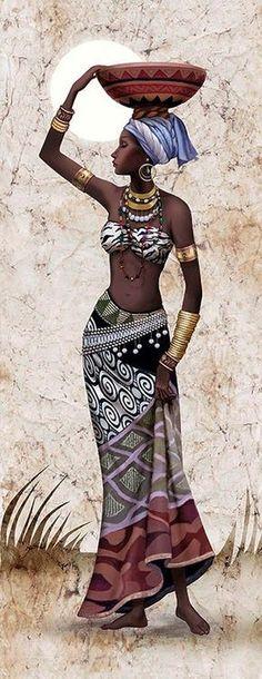 Ideas Black Art Painting Woman Beauty Portraits For 2019 Black Girl Art, Black Women Art, Art Girl, African Beauty, African Women, African Fashion, African Girl, African Art Paintings, Cross Paintings