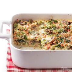 Budget dinner price: $1.73 per serving Just as rich -- and twice as nutritious -- as traditional lasagna, this veggie-packed version has only 322 calories per serving. We swapped veggies for red meat but kept all the cheeses you love for a healthy meal idea./