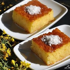 Semolina cake with syrup Easy Sweets, Sweets Recipes, Cooking Recipes, Semolina Cake, Sweet Cooking, Dessert Drinks, Desert Recipes, Sweet Treats, Deserts