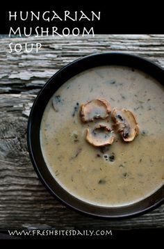 A memorable creamy mushroom soup seasoned with Hungarian paprika