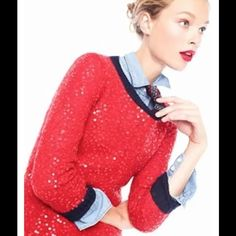 J crew red sequin sweater Small wool mohair blend Normal wear good condition small sweater J. Crew Sweaters Crew & Scoop Necks