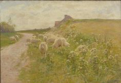 """""""Grazing Sheep,"""" Alexis Jean Fournier, 1895, oil on canvas, 17 x 24 1/2"""", private collection. """"Normandy"""" inscribed verso."""