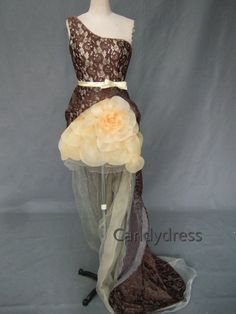 Fine quality dark brown lace tail cocktail dress, custom color, custom size, 100% real sample pictures