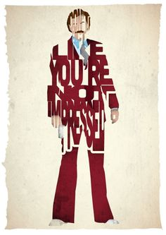 Amazing! Anchorman Ron Burgundy typography print based on a quote from the movie Anchorman from 17th and Oak