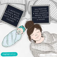 Mom life put into words. This drawing features the Nanobébé award-winning flexy pacifiers that babies adore! Learn more about this pacifier that babies love from day one!