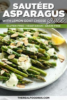 Sautéed to crisp-tender perfection, then topped with toasted almonds and a flavorful garlicky, lemon goat cheese sauce, this Sautéed Asparagus recipe makes for the tastiest side-dish to go along with your Spring meals. A gluten-free side vegetable side dish you'll want to make again and again! Sauteed Asparagus Recipe, Saute Asparagus, How To Cook Asparagus, Asparagus Spears, Spring Meals, Spring Recipes, Healthy Side Dishes, Vegetable Side Dishes, Healthy Vegetable Recipes