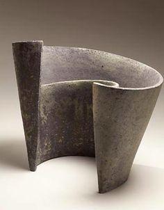 MIHARA KEN (b. 1958) Low, blue-grey sculpture spiraling around a central axis, 2013 Unglazed stoneware 13 1/2 x 16 3/4 x 10 5/8 inches