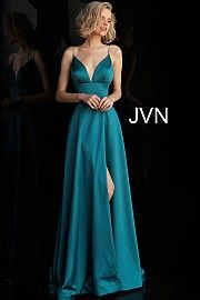 214a70668ce Plunging V Neck Embellished Straps A Line Prom Dress JVN68314. jvn.com