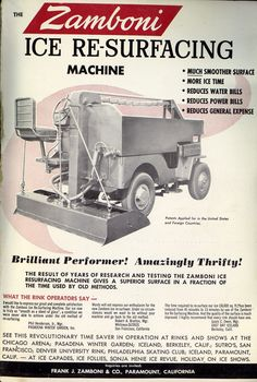 vintage ad for early zamboni model