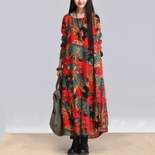 fashion autumn style cotton linen vintage print plus size women casual loose long dress party vestidos femininos 2016 dresses(China (Mainland))