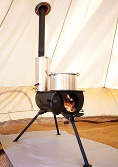 Full stove kit with everything you need including: Frontier Stove Water heater Tent flashing kit Spark arrestor Stove bag Water heater bag Axe Auto Camping, Bell Tent Camping, Camping Gear, Camping Hacks, Luxury Camping Tents, Camping Glamping, Camping Life, Outdoor Camping, Camping Kitchen