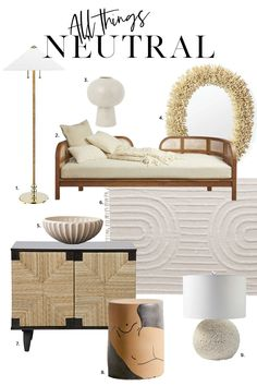 Ideas and home decor to decorate with neutrals. Decorate your bedroom with or living room with neutrals using texture like rattan or other woven materials and layer in a faux fur throw Black Canopy Beds, Wood Daybed, Wood Floor Lamp, Wood Pendant Light, Black Side Table, Mid Century Chair, Faux Fur Throw, Panel Doors, Rattan