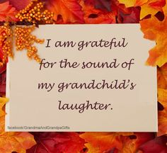 I am grateful for the sound of my grandchild's laughter.