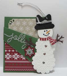 Stampin' Up Cold Play Pocket Card with Snowman Tag/Ornament and Note Card Insert made by Lynn Gauthier using SU's Retired Cold Play Stamp Set, SU Christmas Greetings Thinlits Die, SU Snow Flurry Punch and SU Curvy Corner Trio Punch. Go to http://lynnslocker.blogspot.com/2015/11/stampin-up-pocket-card-with-snowman.html for details on this project.