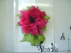 """Trendy Tree Deco Paper Mesh Flower Video Tutorial using 10"""" Fuchsia Deco Paper Mesh and a 10"""" Pencil Wreath  Subscribe to the Trendy Tree Channel http://www.youtube.com/subscription_center?add_user=trendytree"""
