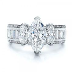 Custom Three Stone Marquise and Baguette Diamond Engagement Ring   Custom  Fashion Rings   Pinterest   Baguette ring, Band and Baguette diamond