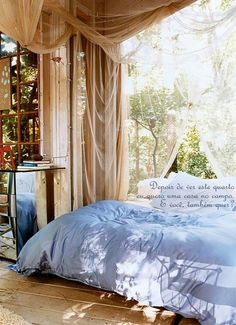 Using sun shelters that you have around your house, on your terrace or porch for outdoor bedroom decorating allows to enjoy summer and outdoor living spaces even in small apartments and homes Dream Bedroom, Home Bedroom, Bedroom Ideas, Bedroom Decor, Bedroom Designs, Bedroom Inspiration, Fairytale Bedroom, Fairy Bedroom, Summer Bedroom