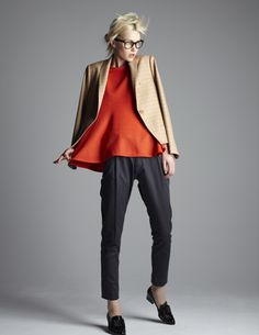 LEP LUSS  AW12-13. Beige Check Tailored Jacket. Vermillion Jersey Flared Tops. Dark Gray Cropped Pants.