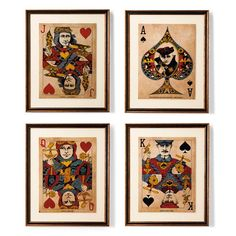 Set of Four Playing Cards Wall Art