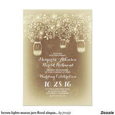 brown lights mason jars floral elegant wedding 5x7 paper invitation card