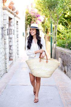 La Plage - Joie dress // J.Crew hat Moroccan basket // Hermes sandals Julie Vos necklace and bracelets Tuesday, July 7, 2015
