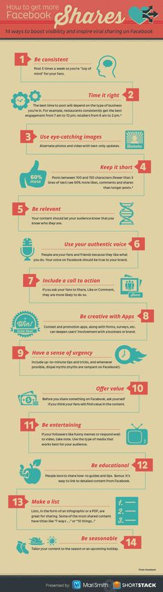 "14 maneras de conseguir mas ""compartidos"" en Facebook - 14 Ways To Get More Facebook Shares #INFOGRAPHIC"