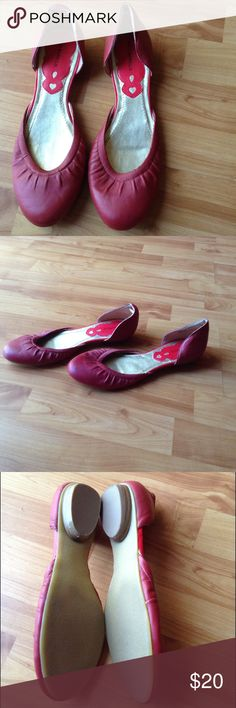 Brand New Leather Flat Shoes Brand New; Red Leather Flats with Covered Heel and Toes and Exposed Foot Carlos Borello Shoes Flats & Loafers