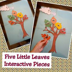 Leaf Fall Themed Printables for Preschool and Kindergarten - Five Little Leaves Poem - Interactive Pieces!!!