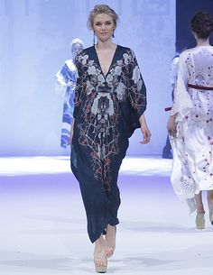 Meng luxury loungewear - Cherry Blossom silk satin crossover kaftan - Mode City catwalk, Paris 2014