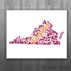 Blacksburg Virginia Landmark State Glicée Print by PaintedPost, $15.00 #paintedpoststudio -Virginia Tech - VT Hokies- What a great and memorable gift for graduation, sorority, hostess, and best friend gifts! Also perfect for dorm decor! :)