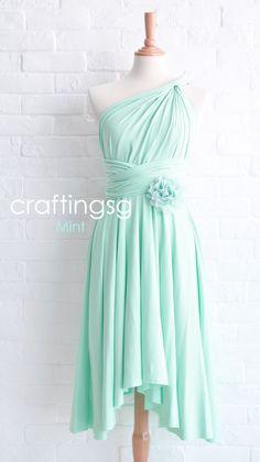 Bridesmaid Dress Infinity Dress Mint Knee Length by craftingsg, $35.00