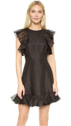 Cynthia Rowley Льняное мини-платье с оборками