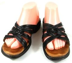 Clarks Shoes Womens Size 8.5 M Black Leather Strappy Sandals #Clarks #Strappy