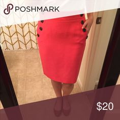 LOFT orange pencil skirt Add some color to your day with this orange LOFT pencil skirt. Pairs well with a chambray shirt and leopard flats for a fun fall workwear combination  LOFT Skirts Pencil