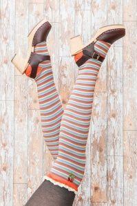 60s Kelli Overknee Striped Socks in Tangerine