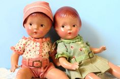 """Lot 2 Composition Dolls, Sally American Character, Petite 1930's, 12 1/2 """""""