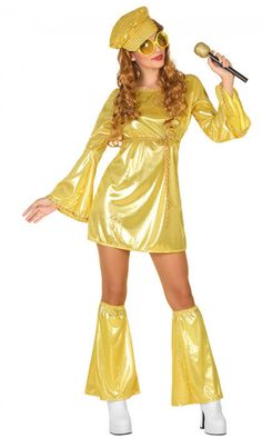 goudkleurige disco outfit voor vrouwen