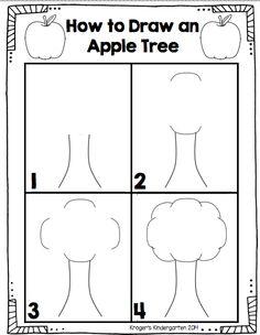 Kroger's Kindergarten: Apple tree directed drawing