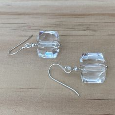 Recycled Clear Faceted Cube Crystal Earrings