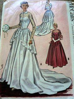 LOVELY VTG 1950s BRIDAL or EVENING DRESS McCALLS Sewing Pattern 14/32