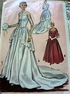 LOVELY VTG 1950s BRIDAL or EVENING DRESS McCALLS Sewing Pattern 14/32