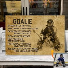 Custom hockey canvas new goalie Hockey Decor, Hockey Room, Hockey Gifts, Hockey Live, Hockey Stuff, Goalie Quotes, Hockey Quotes, Hockey Posters, Team Quotes