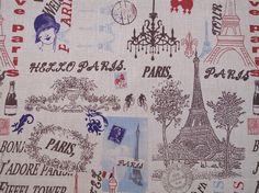 Paris with Love Eiffel Tower Vintage Antique by TheFabricShopUK, £13.99