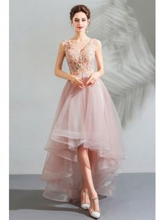 Pink party dress v neck a line high low sleeveless short prom dress lace up plus size affordable cocktail dress lace up princess dress bridesmaid dress sale Pink Party Dresses, Prom Dresses For Sale, Blue Wedding Dresses, Gala Dresses, Bridesmaid Dresses, Dress Sale, Party Outfits, Chic Outfits, Lace Wedding