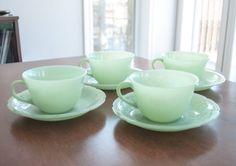 4 tasses et soucoupes Fire King vintage couleur jade par 3rvintages