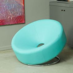 Modern Saucer Chair Blue Bonded Leather Steel Leg Unique Living Room Furniture