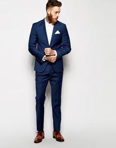 Men's Suits - Image 4 - ASOS - Pantalon de costume skinny - Bleu marine - Pin İdeas Mens Fashion Suits, Mens Suits, Man Fashion, Winter Fashion, Asos, Costume Marie Bleu, Cool Tuxedos, Skinny Fit Suits, Tweed