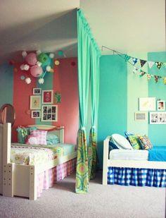 raumteiler kinderzimmer vorhang geschwister mädchen junge rosa blau